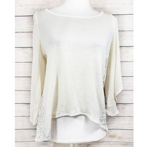 Hollister Ivory Lace back Cold Shoulder Sweater